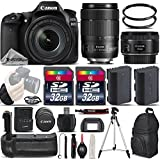 Canon EOS 80D Wi-Fi Full HD 1080P Digital SLR Camera + Canon 18-135mm IS USM Lens + Canon 50mm 1.8 II Lens + Battery Grip. All Original Accessories Included - International Version