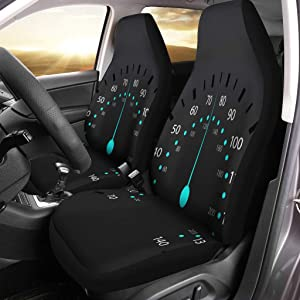 Semtomn Car Seat Covers Speedo Creative Speedometer Car Meter Dashboard Abstract Arrow Competition Set of 2 Auto Accessories Protectors Car Decor Universal Fit for Car Truck SUV