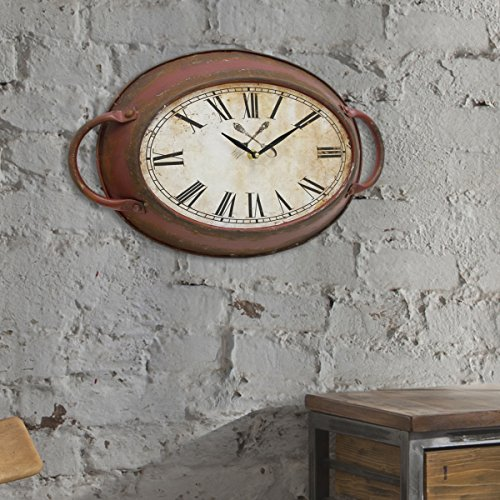 Stonebriar Rustic Farmhouse Oval Metal Wall Clock with Red Rust Finish, Shabby Chic and DIY Home Decor Accents for the Kitchen, Living Room, and Bedroom, Battery Operated by Stonebriar (Image #4)