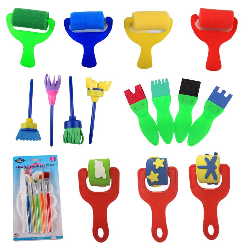 23 PCS Foam Sponge Brush Tools Fun Gifts For Kids Foam Roller Brush,Foam Paint Brush, Graffiti Roller, Water Color Brush, Sweeper Sponge Brush Fun DIY Crafts Supplies for Boys and Girls Birthday Gifts