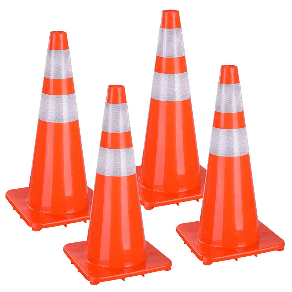 Yescom 28'' Traffic Cones Reflective Safety Cones Fluorescent Collars Overlap Parking Construction Emergency 4 Pack