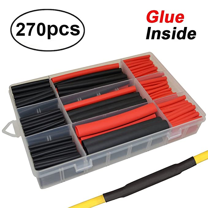Amazon.com: 3:1 Kit de tubos termorretráctiles adhesivos de ...