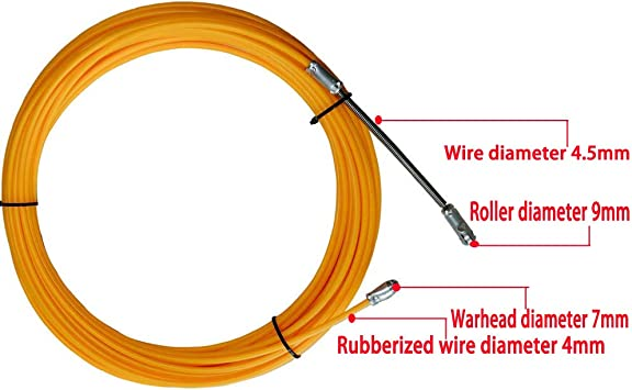 RUNCCI-YUN Aiguille Tire-fils avec T/ête Flexible de Guidage et Oeuillet de Tirage D/émontable /électricien Fil C/âble Extracteur de Filetage Appareil Fonctionnant Laisses avec Corde en Acier,15M