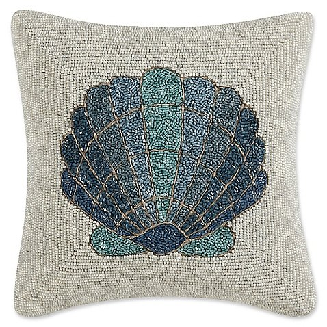 Throw Pillow Hand Beaded Shell Motif 12x12
