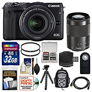Canon EOS M3 Wi-Fi Digital ILC Camera with EF-M 18-55mm & 55-200mm IS STM Lens (Black) + 32GB Card + Backpack + Flex Tripod + Filters + Remote + Kit