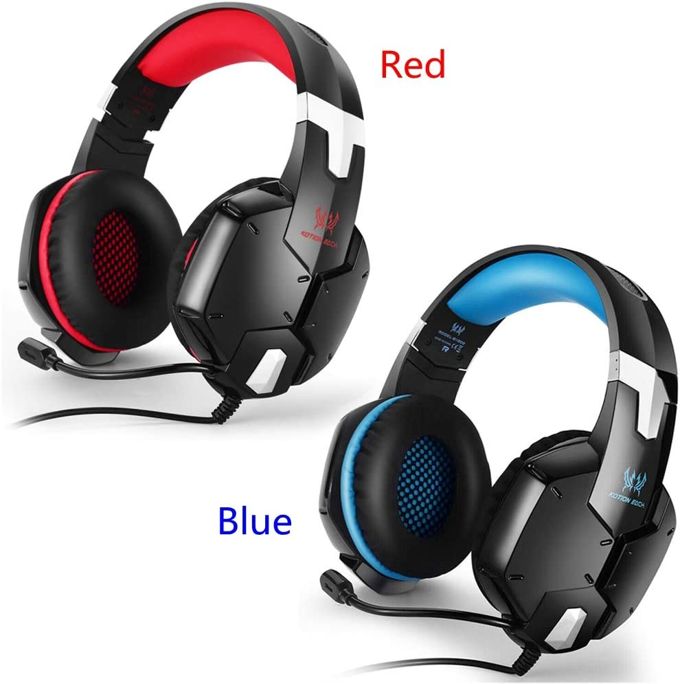YangYun Gaming Headphones New 3.5mm Plug Headband Earphones Noise Cancelling Stereo Bass Wired Headset Surround Stereo(blue) red