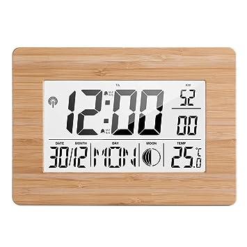 4 Pack, Reloj de Pared Digital LCD Alarma Número de Tamaño Grande Relojes de Mesa de Temperatura Multifunción Termómetro de cabecera Reloj Grande,, ...