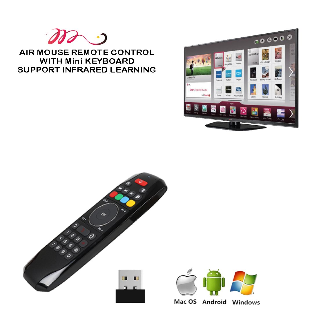Air Mouse Remote, PTVDISPLAY 2.4G IR Learning Mouse Remote Control with Keyboard for Android TV Box Smart Projector MAC Pad HTPC iOS PC Windows Computer (Black) by PTVDISPLAY (Image #3)