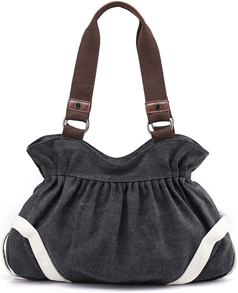 Canvas Hobo Bag for Women with Zipper and Pockets,Solid Color Dumpling Shoulder Bag for Casual