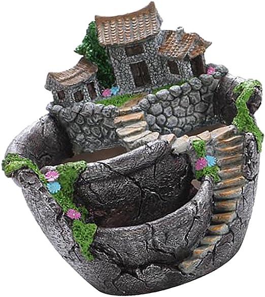 LOVIVER Precioso Mini Jardín Plantas Suculentas Maceta Maceta Bonsai Macetas Decoración - Plata: Amazon.es: Productos para mascotas