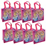 Disney 8-Pack Princess Reusable 10'' Tote Bags with Glossy Printing
