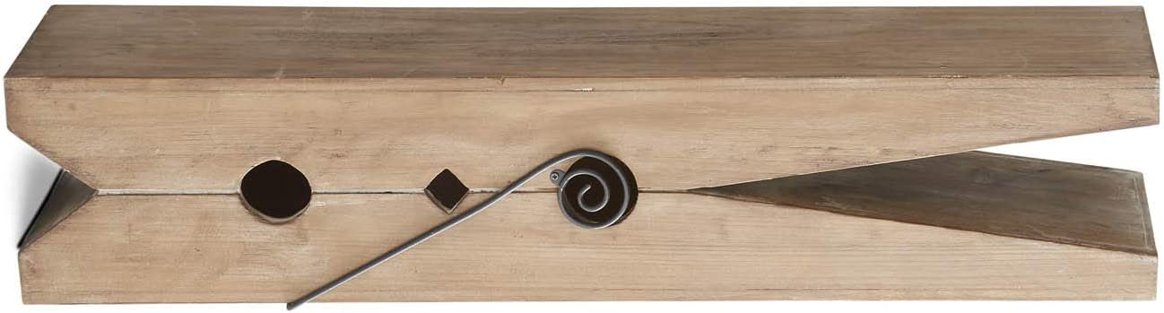 K&K Interiors 16003B 30 Inch Natural Wood Clothespin Shelf, Brown
