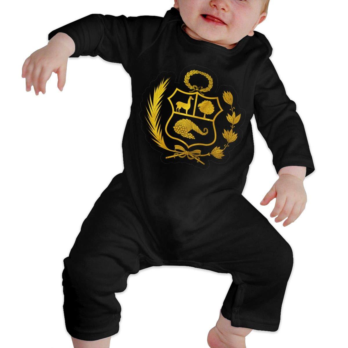 LBJQ8 Peru Logo Newborn Infant Baby Girls Long Sleeve Bodysuit Romper Jumpsuit