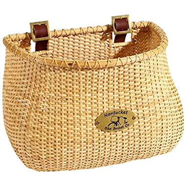 Nantucket Bike Basket Co Lightship Collection Classic/Tapered Natural Bicycle Basket (Tan, 12 X 7.5 X 9)
