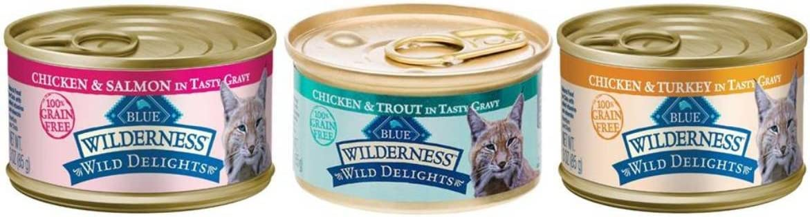 Wilderness Blue Buffalo Wild Delights Grain-Free Natural Cat Food 3 Flavor Variety 6 Can Bundle, (2) Each: Chicken & Turkey, Chicken & Salmon, and Chicken & Trout (3 Ounces)