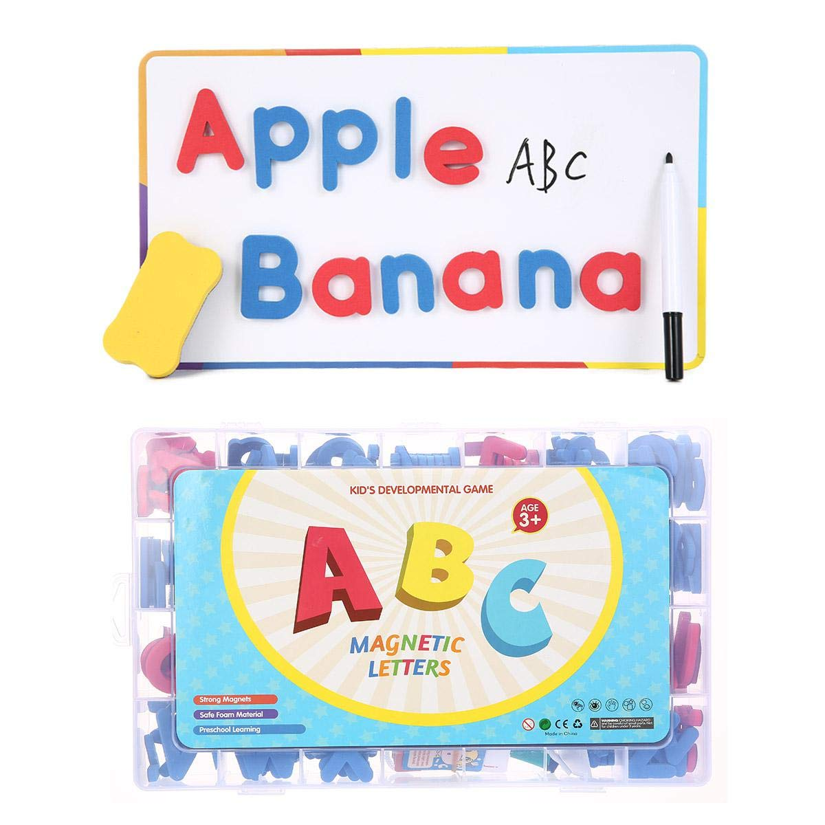 HAMKAW Lettres et Num/éros Magn/étiques avec Tableau Magn/étique Majuscule//Minuscule//Mousse Alphabet//ABC Aimants Jouets pour lApprentissage Pr/éscolaire Alphabet Magnets