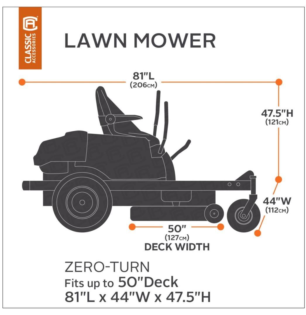 Classic Accessories 52-150-040401-00 Zero Turn Riding Mower Cover, Black, 60-Inch