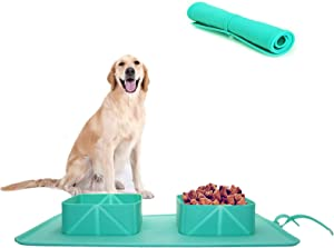 Collapsible Dog Bowl, Food Grade Silicone Double Pet Cat Bowl Mat, Folding Non-Slip Puppy Food Water Bowls, Portable Dog Bowl for Home and Travel