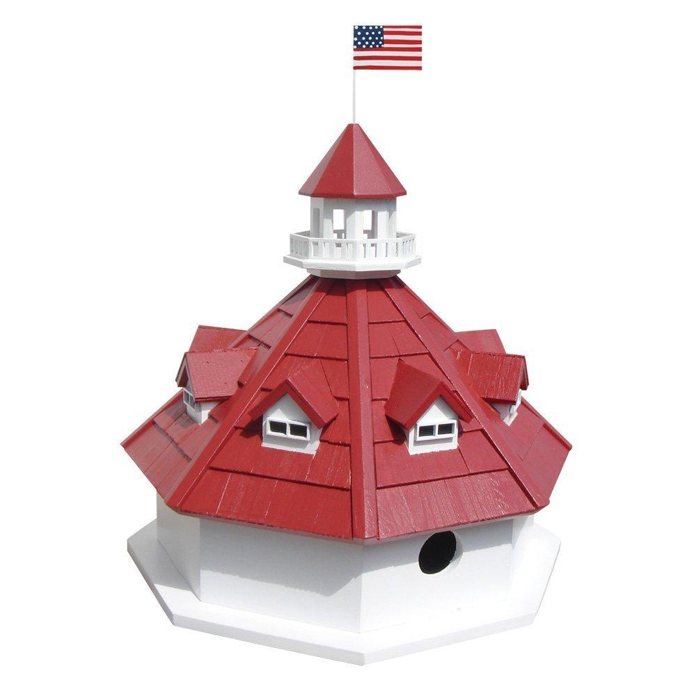 Annapolis Lighthouse Birdhouse (Red/White) (12.00H x 6.00W x 6.00D)