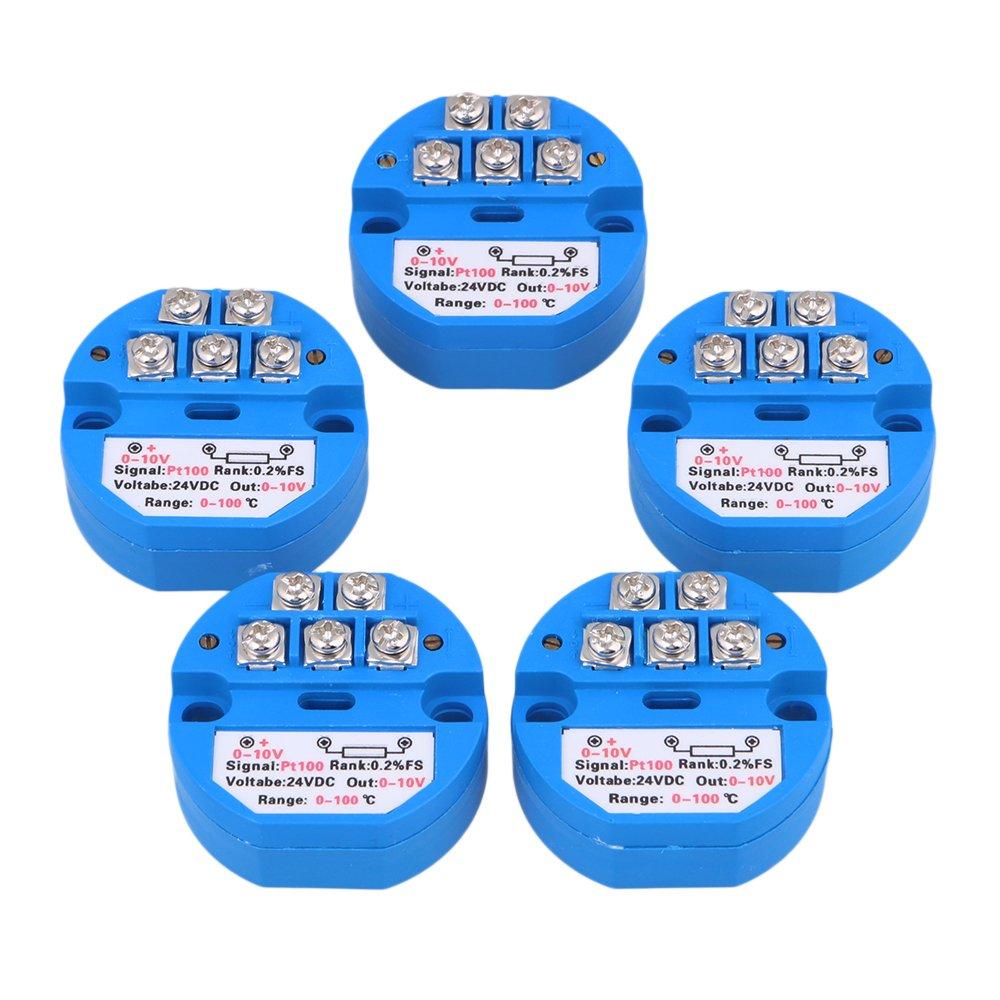 Yibuy 5X Plastic 0~100¡Ãc Output 0~10V DC24V PT100 Temperature Sensor Transmitter Blue