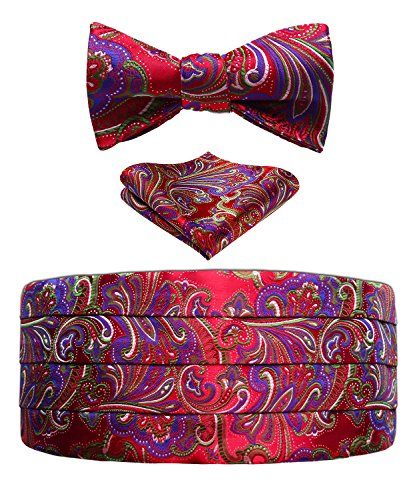 Cummerbund Red Set (Men's Floral Jacquard Silk Cummerbund & Self Bowtie and Pocket Square Set Red)