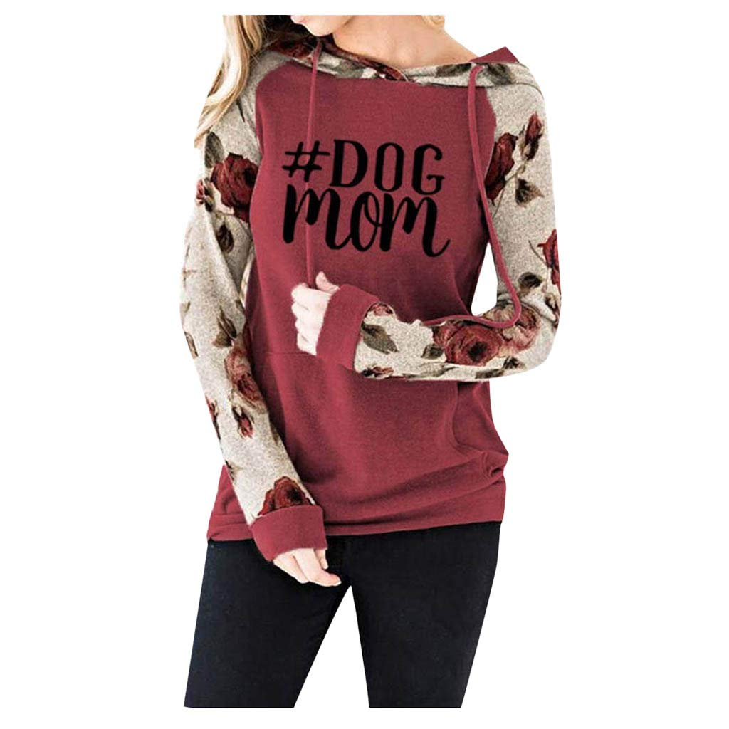 SHUSUEN Sweatshirt Floral Long Sleeve Drawstring Casual Hoodies Pullover Tops with Pockets Red by SHUSUEN