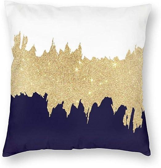 Amazon.com: Emliyma Modern Navy Blue White Faux Gold Brushstrokes