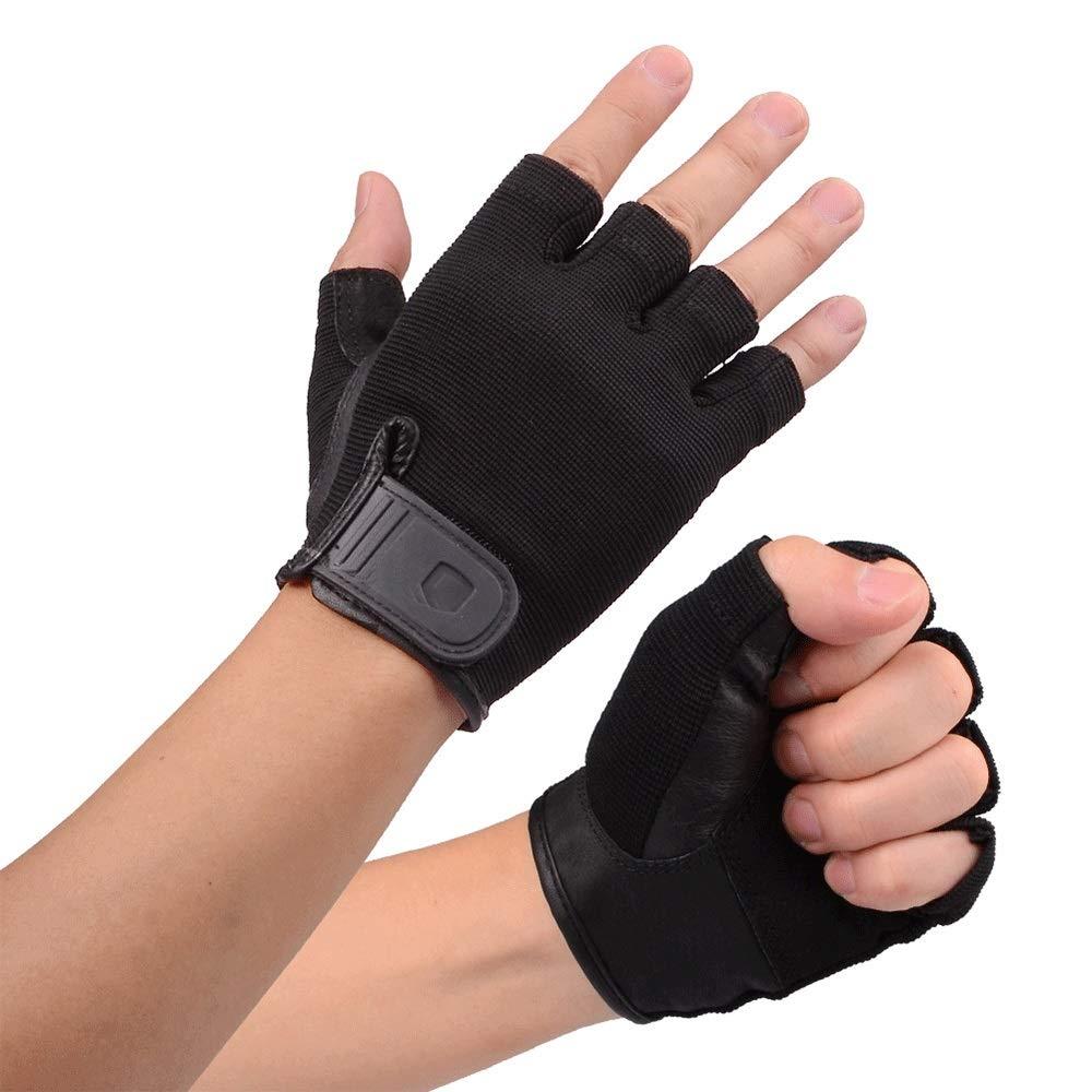 GLJJQMY Professional Gym Weight Lifting Gloves Sports Men's Breathable Non-Slip Gloves, Black Glove (Size : XL)