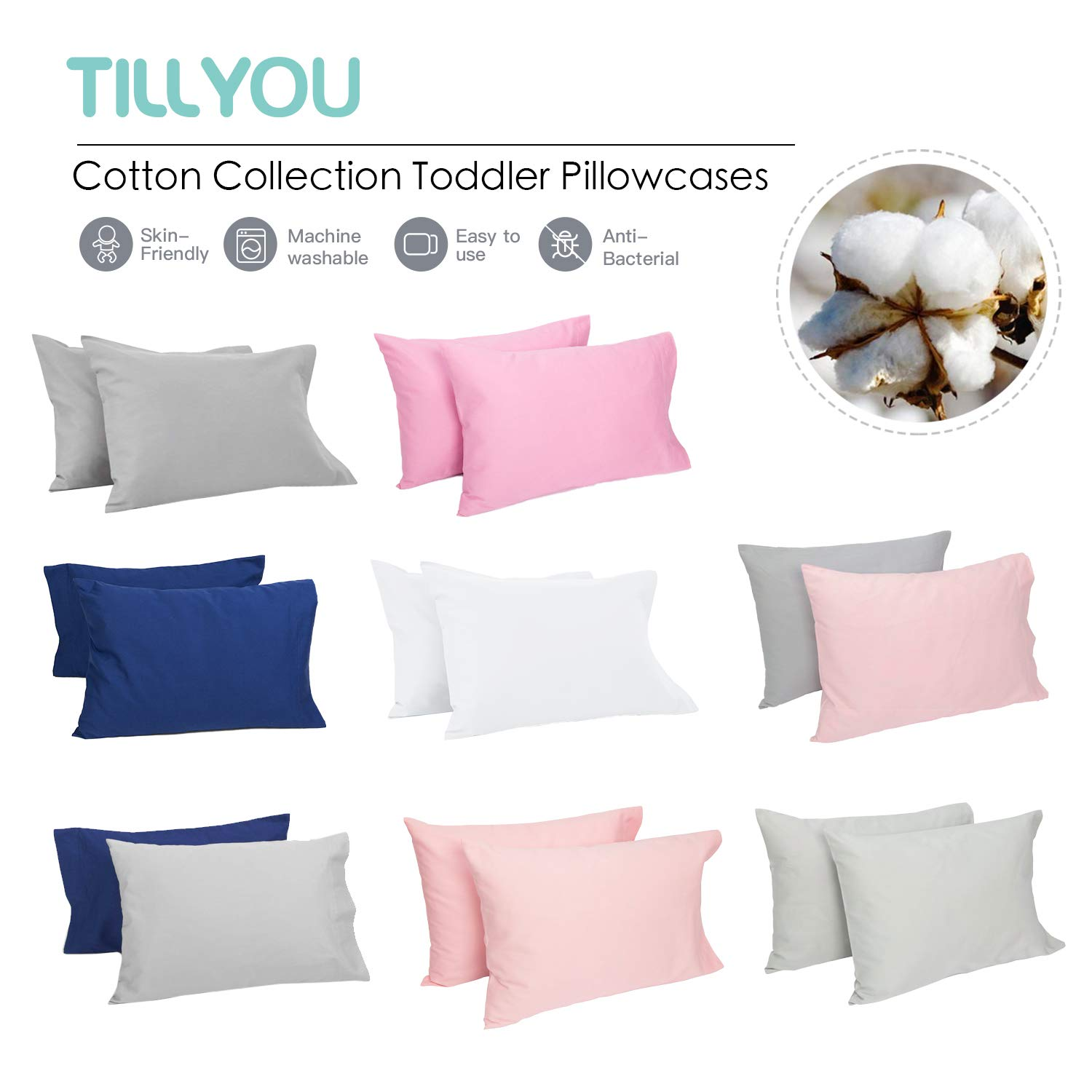 13x18 or 14x19 Machine Washable Travel Pillow Case Cover with Envelope Closure Fits Pillows Sized 12x16 14x20 Pale Gray TILLYOU Cotton Collection Soft Toddler Pillowcases Set of 2