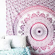New Ganesham Indian Handmade Hippie Pink Ombre Tapestry, Wall Hanging, Picnic sheet, Yoga mat, Bohemian, Double Bedspread, Mandala Queen Tapestry