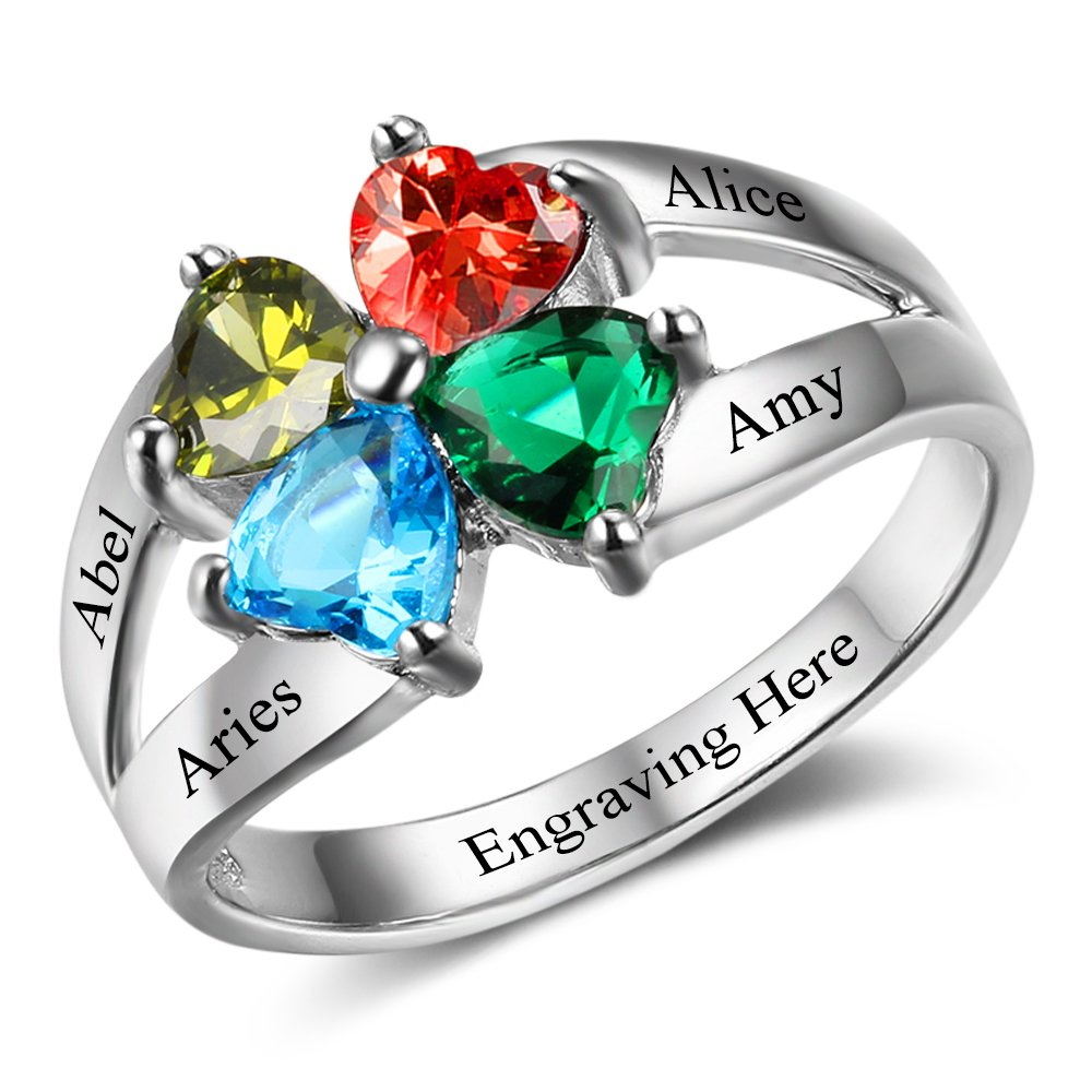 Diamondido Personalized Mother's Day Rings Family Jewelry Engrave Names Simulated Birthstone Rings for Women (8)