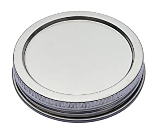 Stainless Steel Rust Resistant Silver Air Tight Storage Mason Jar Lids Leak Proof and Secure,Dishwasher Safe,BPA Free (Pack of 6,Wide Mouth)