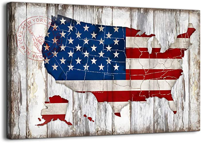 Rustic Wall Decor Vintage American Flag of US Map Canvas Wall Art for Wall Decoration Wood Background USA Flag Canvas Prints for Bedroom Office Kitchen Home Wall Decor Framed Artwork Ready to Hang