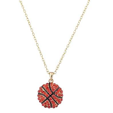 Amazon.com  Lux Accessories Gold   Orange Basketball Pendant ... 8b103c1a7a