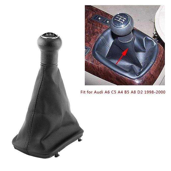 protector de repuesto para A6 C5 A4 B5 A8 D2 1998-2000 funda de palanca de cambios a prueba de polvo para cambio de marchas 5 velocidades Pomo de cambio manual para coche piel negro