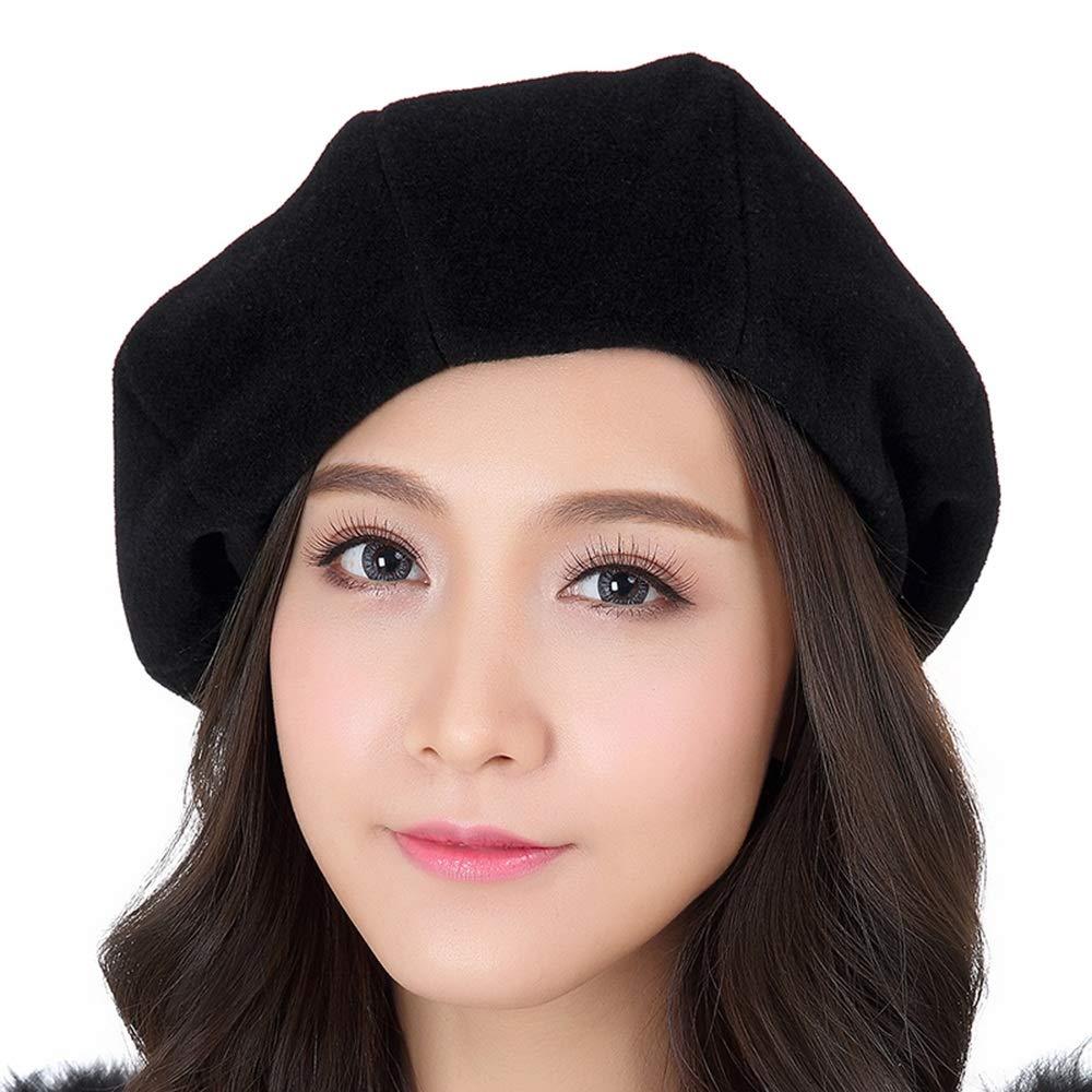 Black Women's Beret Hat Wool French Beret Winter Autumn Hat Ladies