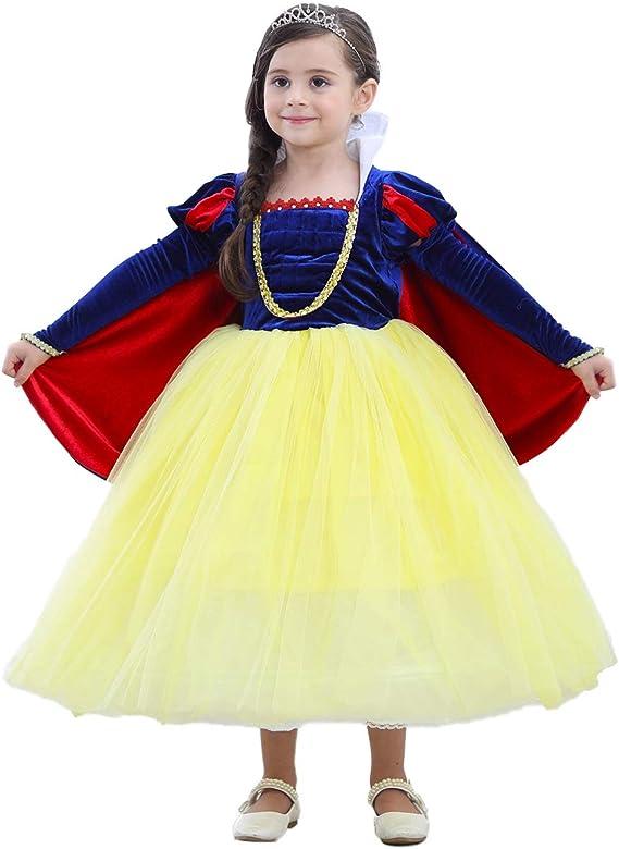 OBEEII Disfraz Blancanieves Niña Vestido de Princesa Carnaval ...