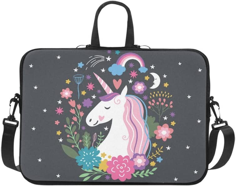 Cartoon Unicorn Animal Black Laptop Bag Cool 3D Print Laptop Computer Bag Slim Neoprene Notebook Sleeve Various Sizes for Teen Students White 13inch