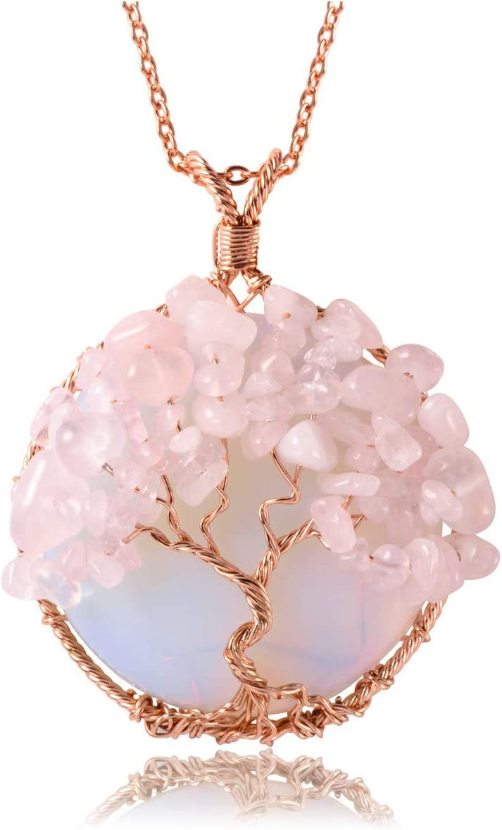 Wire Wrapped Rose Crystal Rose Quartz Necklace Natural Stone Pendant Rose Crystal Necklace Heart Chakra Crystal Jewelry Healing Stone