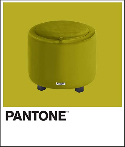 Pantone Round Ottoman Foot Storage Contemporary Compact Soft Padded Vanity Stool, Small Accent Furniture for Living Room, Bedroom and Playroom, 15 Height, Short, Green