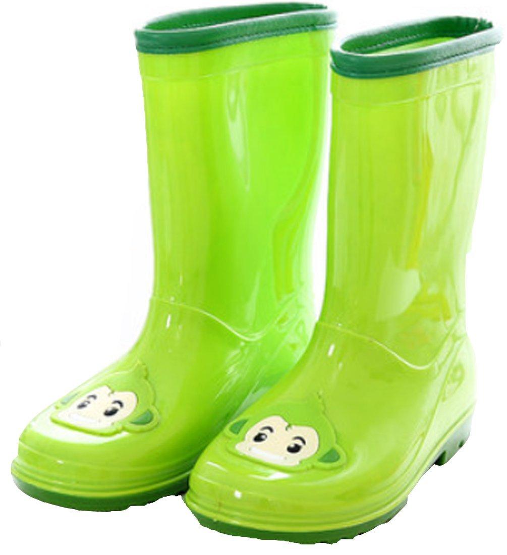 VECJUNIA Girls Breathable Slip-Resistant Cartoon Rain Boot Snow Boots Green 7.5 M US Toddler
