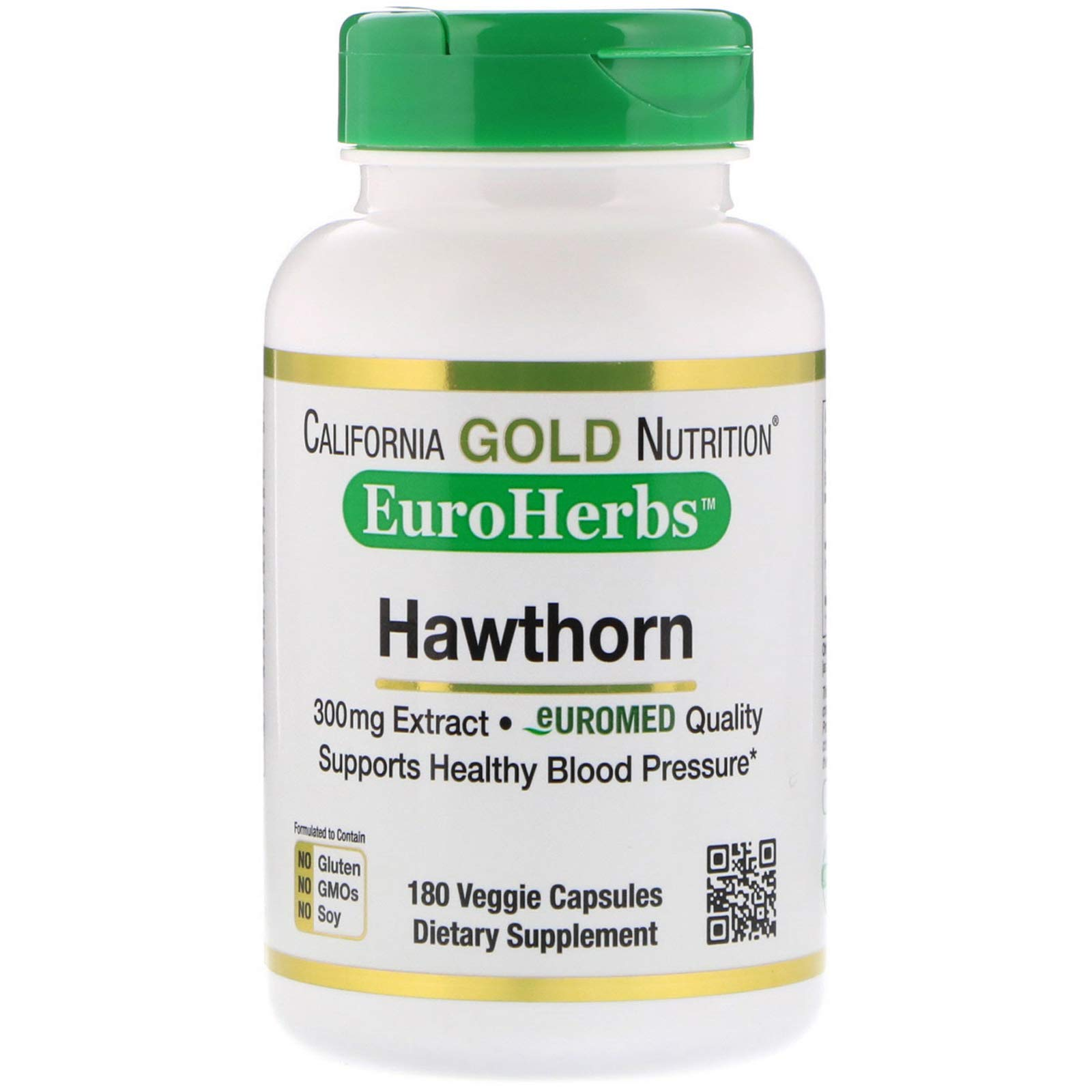 California Gold Nutrition, Hawthorn Extract, EuroHerbs, European Quality, 300 mg, 180 Veggie Capsules