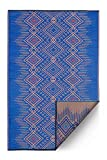 Fab Hab Reversible, Indoor/Outdoor Weather Resistant Floor Mat/Rug - Jodhpur - Blue (6' x 9')