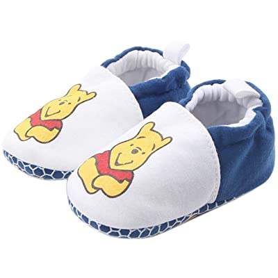 Bettyhome Cotton Unisex Baby Newborn White Little Bear Pattern Soft Sole Infant Toddler Prewalker Sneakers (0-1 Year)