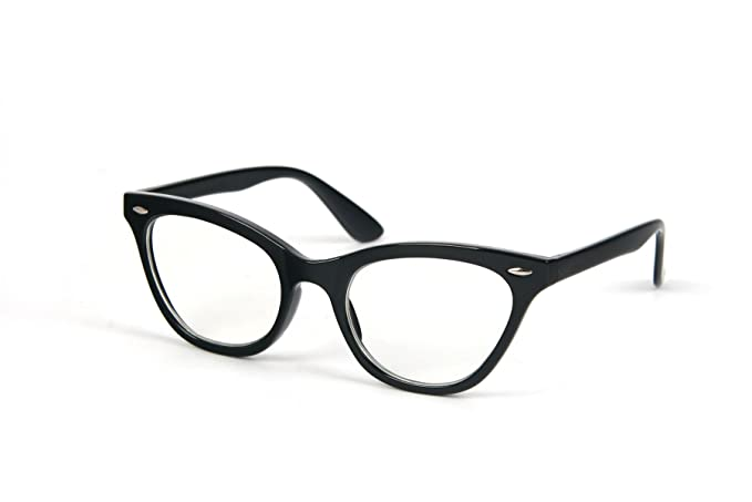 f73e2f6817 Amazon.com  Retro Vintage Style Clear Lens Cat Eye Frame Glasses 1415CL ( Black)  Clothing