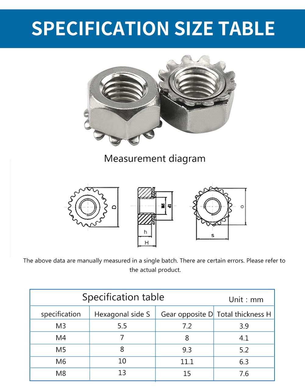 304 Stainless Steel K Type Nut Luchang M3 M4 M5 M6 M8 K-Type K-Lock Nut Nickel Plated Keps Nuts Toothed Hex Nut M5 10Pcs