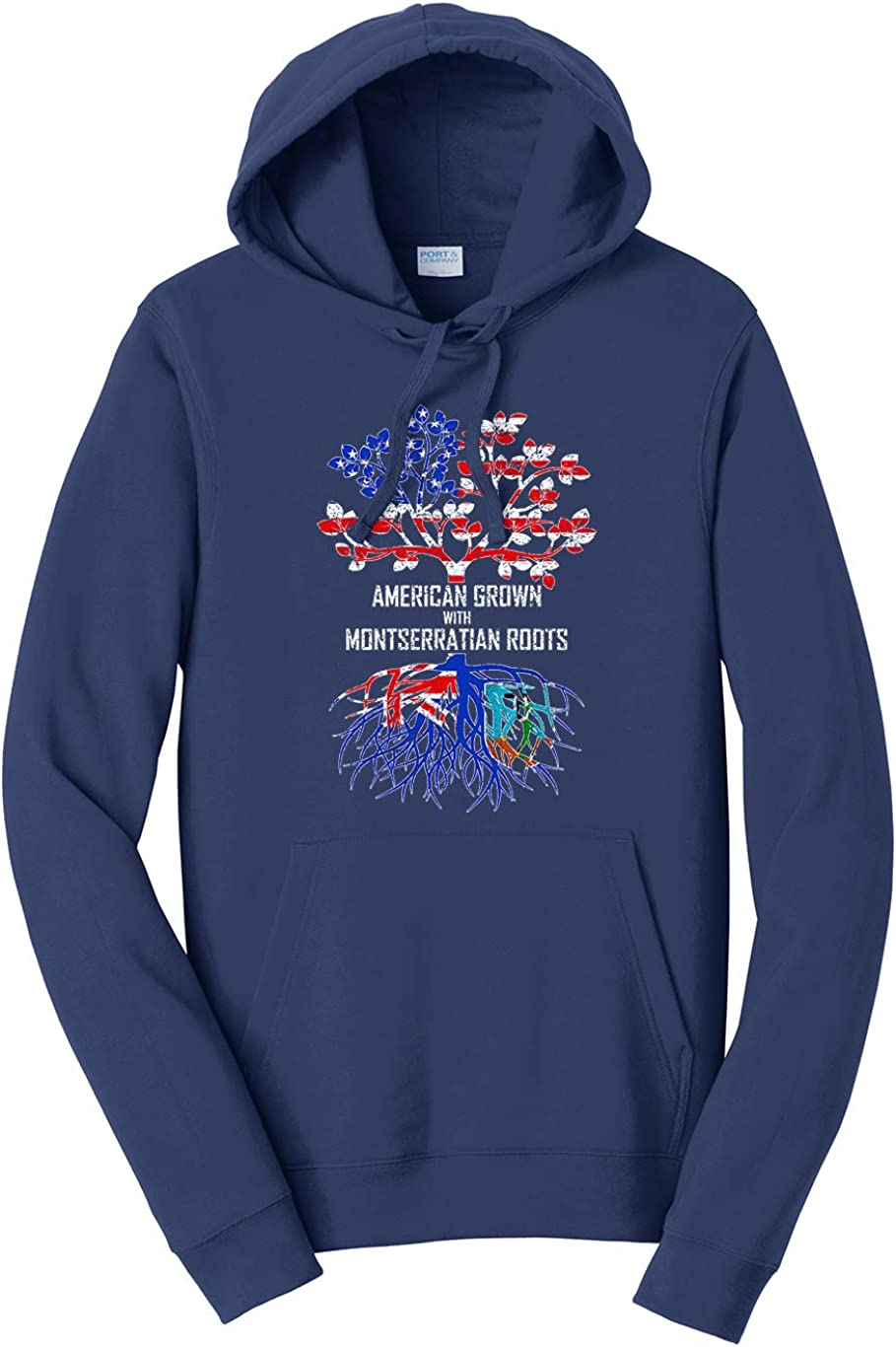 Tenacitee Unisex American Grown with Montserratian Roots Hooded Sweatshirt
