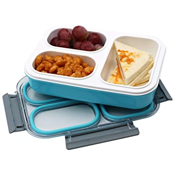 Amazon.com: leakproof Niños Lunch Box con 3 compartimentos ...