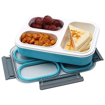 Amazon.com: leakproof Niños Lunch Box con 3 compartimentos ...