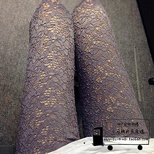 GaoXiao trois dimensions rétro évidé creux crochet fleur fine dentelle de pantalons,sept points blanc